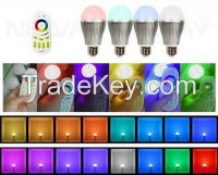 Set of Dimmable RGB LED Bulb E26 6W Light With RF Wireless Remote Controller
