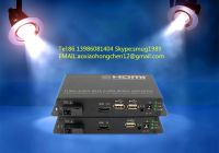 KVM fiber optic extender,KVM switch for HDMI&USB&IR signals transmission over 1 fiber to 100KM for remote video conferencing