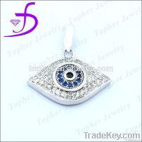 Stunning 925 Sterling Silver Micro Pave Setting Evil Eye Pendant
