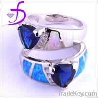 New arrivel fashion 925 silver jewelry silver blue fire opal ring