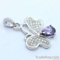 Wholesale 925 Silver Jewelry butterfly Pendant with Amethyst