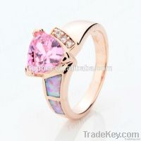 Plated Rose Gold Pave Diamond 925 Silver Jewelry Pink Fire Opal Rings