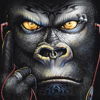 New 3D mens black cotton T-shirt printed shirt Night Gorilla light luminous T-shirt