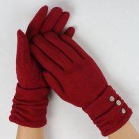 Ladies elegant ruche woolen glove
