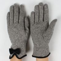2014 new style ladies warm woolen gloves with bowknot