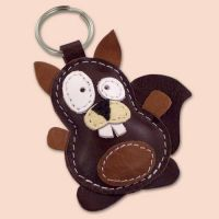 Sweet Little Brown Squirrel Leather Animal Keychain
