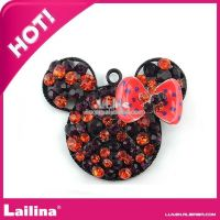 Fashion 48mm rhinestone minnie mouse chunky necklace pendant