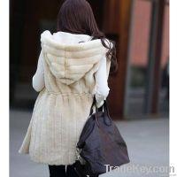 2017new imitation fur coat vest and long sections vertical stripe hoo