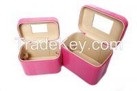 factory price female pu leather three-piece costmetic bags lady handbag