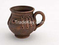 Ceramic tea cup, ceramic tea mug made of red clay.