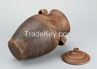Clay amphora with a lid