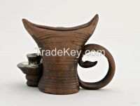 """Ceramic candlestick, candle holder """"Hobgoblin"""" made of red clay."""