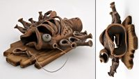 """Decorative ceramic wall panel """"Fish"""" made of red clay."""