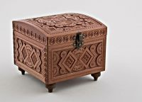 Hand carved wooden jewelry box.