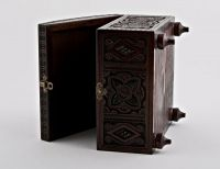 Hand carved wooden jewelry square box.