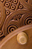 Handmade round wooden jewelry box.