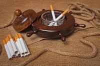 Wooden table ashtray with glass tray.