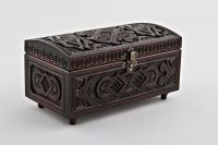 Hand carved wooden jewelry brown box.