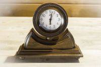 Desk wooden alarm clock with hand carved pattern.