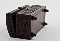 Hand carved jewelry wooden box.