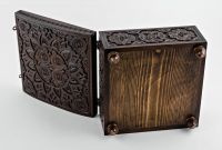 Carved wooden box for needlework