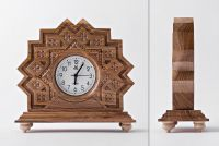 Desk wooden clock with hand carved pattern.