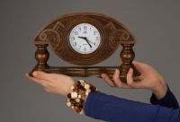 Desk wooden clock made by hands.