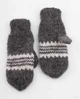Woolen mittens knitted by hands.
