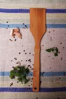 Wooden spatula, cooking utensil.