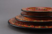 Painted wooden plate set of four plates.