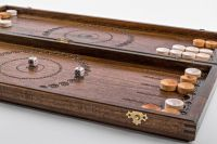 Wooden hand carved backgammon.