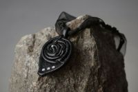"Natural leather pendant ""Black rose"""