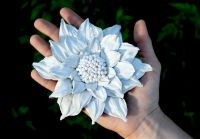 White flower brooch made of leather