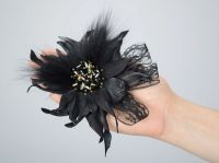 """Brooch made from leather, beads, fur """"Mysteriousness"""""""