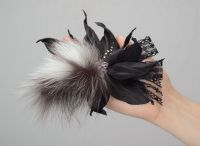 """Leather brooch with fur, lace, beads """"Leather chic"""""""