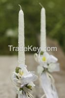 Wedding candle with white ribbons