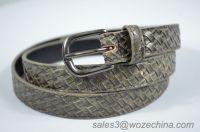 Hot Sale Woven Grain PU Belt For Lady, Snake Pattern Belt,Unisex Belt