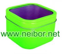 square tin box with clear window  candy box candle box