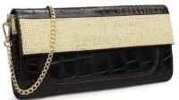croco embossed leather evening clutch bag with shining stones