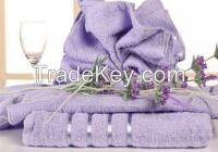 Purple hand towel with dobby border