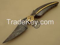 Custom Handmade Damascus Steel Hunting Best Folding Knife FullDamascus