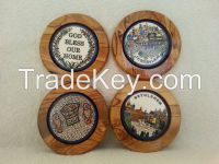 olive wood kitchen ware with ceramic decoration