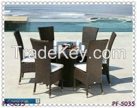 rattan dining table & chair