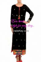 black kurti hand embroided with gotta work