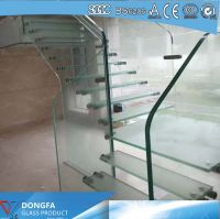 Triple layer clear tempered Sentryglas laminated glass stair tread