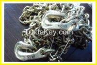 G80 chain with bent hooks at both ends tie down chain