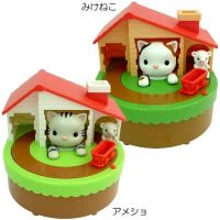 Novelty cat and mouse money box, plastic coin bank, saving pot,