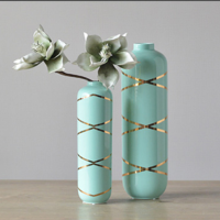 New design glazed flower vase, ceramic vase with gold stripe painting