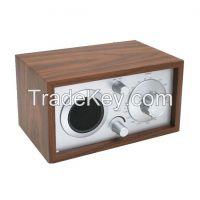 Home Antique Retro Classic Wooden Design AM FM Radio Receiver with AUX-IN Dual Speaker