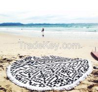 Extra Large Custom Printed Round Beach Towel with Tassels